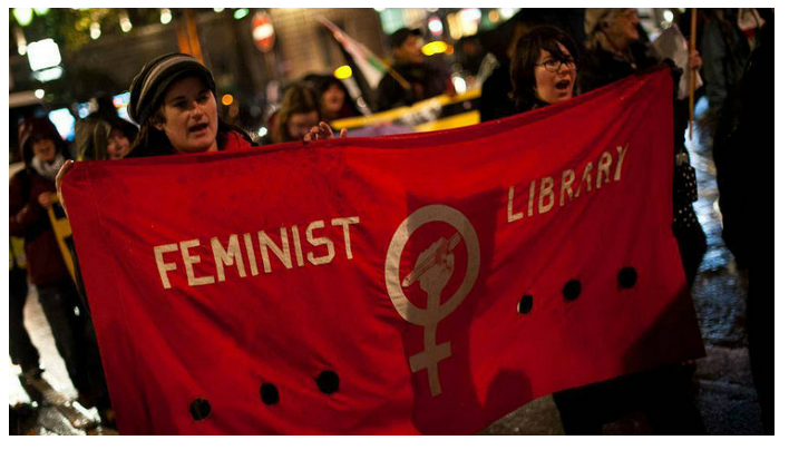 Photo of Feminist Library at a protest. Feminist Library/Southwark News